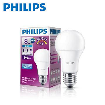 飛利浦全電壓VI LED廣角型8W白光(929001195495)