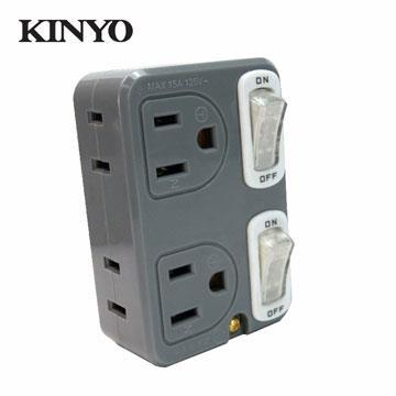 KINYO 雙節電開關2開4插分接器(MR-43)