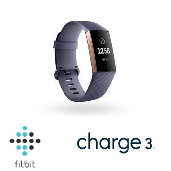 Fitbit Charge 3 智慧手環 - 玫瑰金框藍灰錶帶(Charge3 BU)