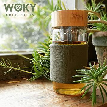 Woky北歐風磁力吸式耐熱濾茶/咖啡玻璃杯-綠(JS-WK450)