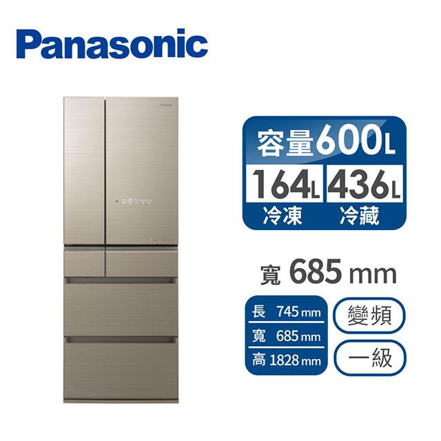 【展示品】Panasonic 600公升六門變頻玻璃冰箱(NR-F605HX-N1(翡翠金))